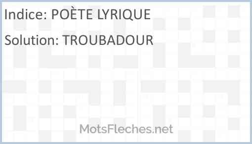 Poète Lyrique Mots Croisés Motsflechesnet